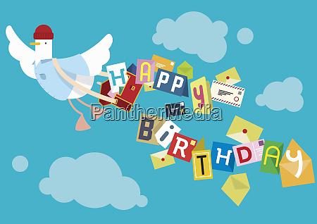 flying bird postal worker delivering birthday