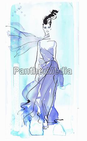 catwalk fashion model in flowing purple