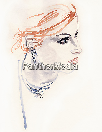 beautiful woman wearing diamond earrings and