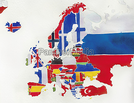 watercolor flag map of europe