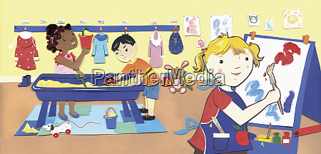children enjoyment playing at nursery school