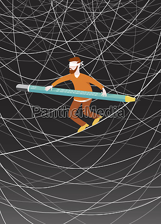 blindfolded man walking tightrope balancing with