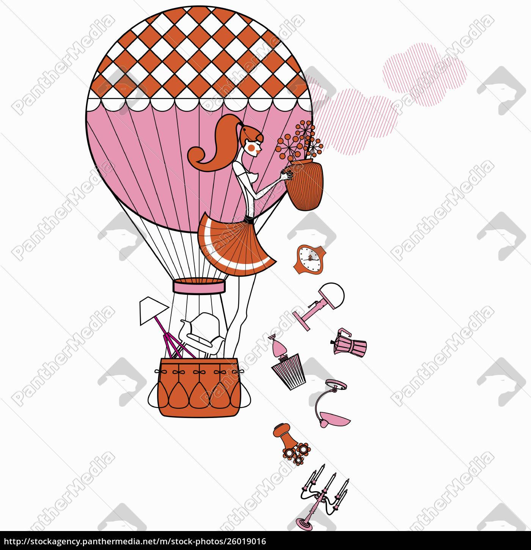 modische, frau, im, heißluftballon, wirft, möbel - 26019016