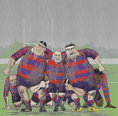 schwaermend aggressive aeltere rugbyspieler bilden scrum