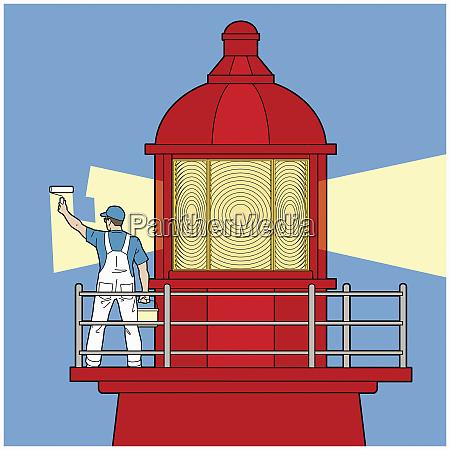 dekorator malt lichtstrahl auf leuchtturm