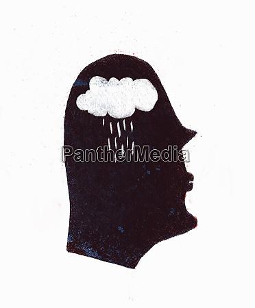 rain falling from cloud inside of