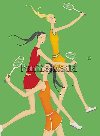 beautiful women playing tennis