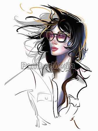 fashion illustration of windswept woman wearing