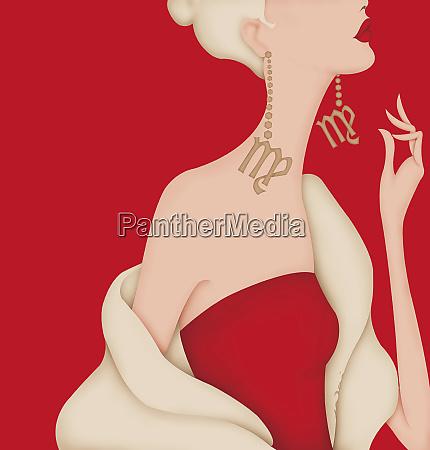 glamorous woman wearing earrings with virgo