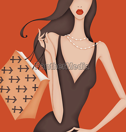 glamorous woman carrying shopping bag with