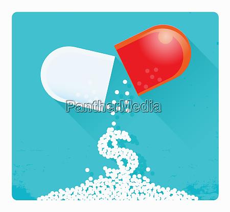 dollarzeichen, fällt, von, kaputter, pillenkapsel - 26020016