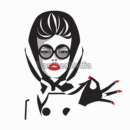 glamorous woman wearing sunglasses and headscarf