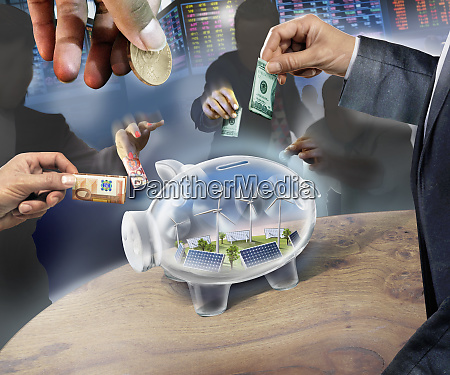 business people investing money in transparent
