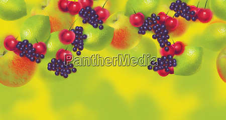colorful fruit pattern of apples cherries