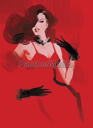 beautiful fashion model wearing red dress