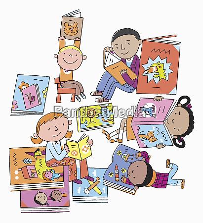 small children enjoying reading picture books