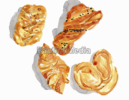 watercolor painting of different danish pastries
