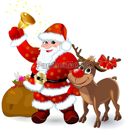 santa with bell and reindeer