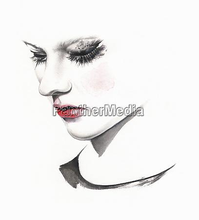 traurige, frau, weint, mit, geschmuggeltem, make-up - 26021792