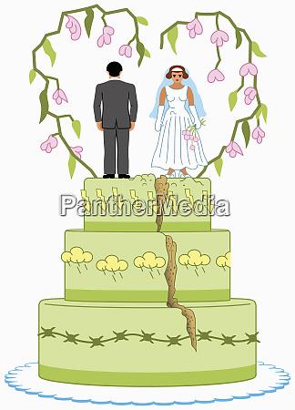 wütende, braut, und, bräutigam, auf, geteilte - 26021470