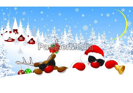 santa claus and reindeer in christmas