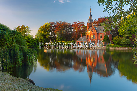 fairytale night landscape at lake minnewater