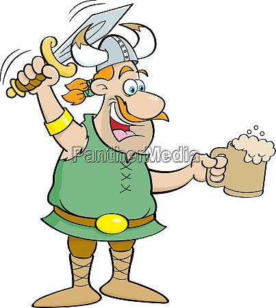 cartoon illustration of a viking holding