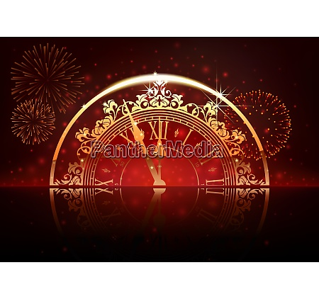 new year background with clock face