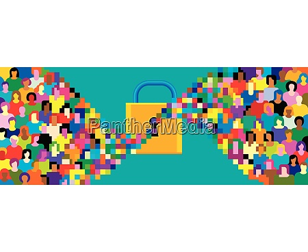 pixelated crowd streaming into padlock