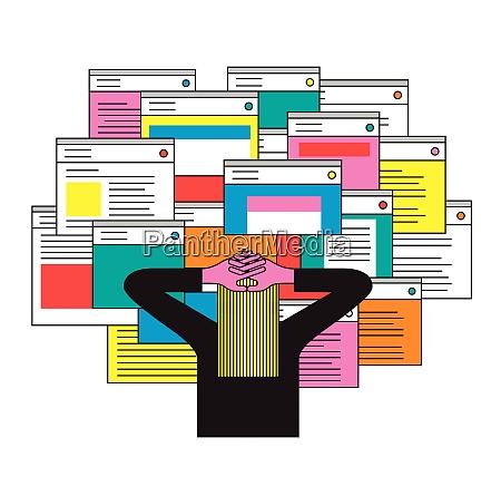 person ueberwaeltigt von vielen e mails