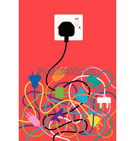 tangled cables with one plug fitting