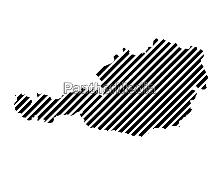 striped austria map contour design isolated