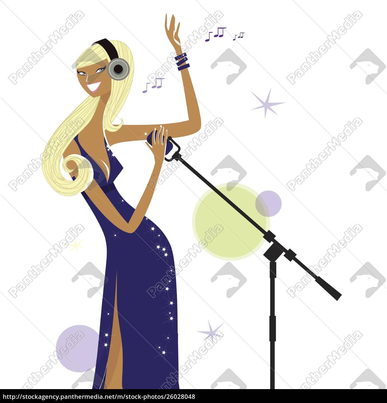 frau, singt, ins, mikrofon - 26028048