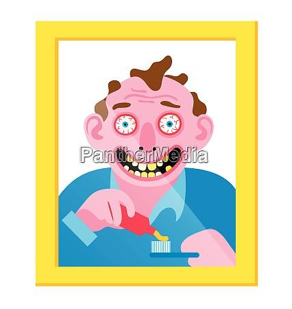 verrückter, mann, im, spiegel, putzt, seine - 26028122