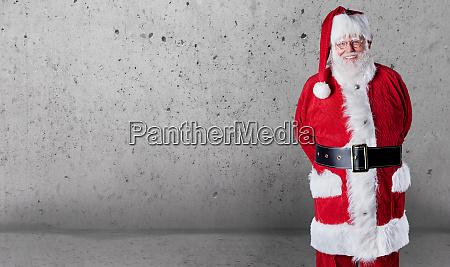 happy jovial santa claus with copy