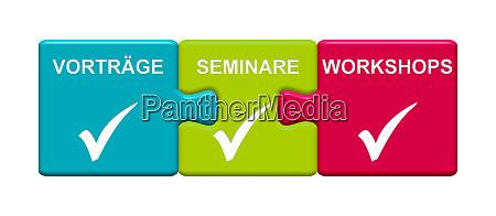 3 puzzle buttons mit vortrag seminar