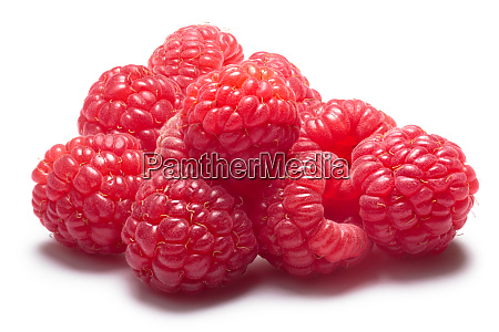 pile of fresh raspberries clipping path