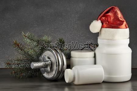 sporternaehrung und weihnachtsdekorationen