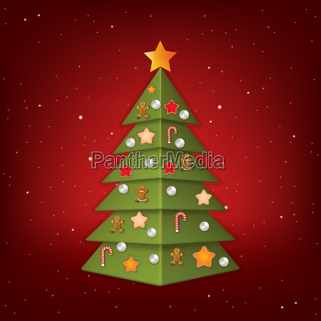 christmas greeting with tree and decorations