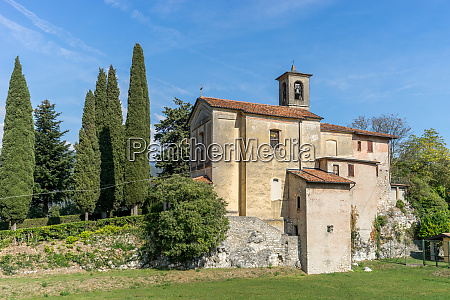 medieval church in prabione in italy