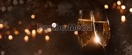 champagne with christmas background