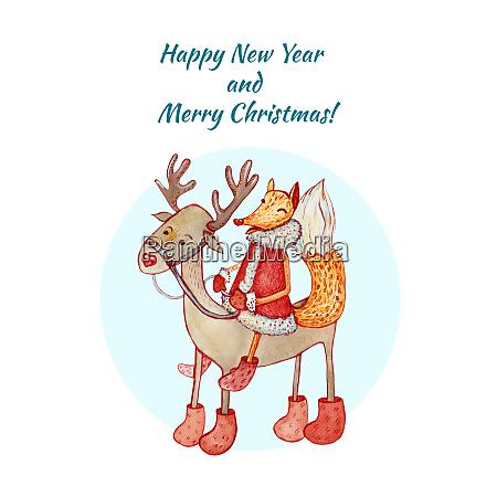 grusskarte froehliche weihnachten und glueckliches neues