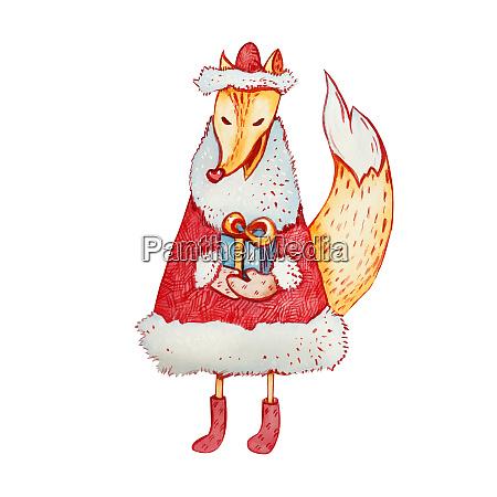 weihnachtliche aquarell illustration eines schlauen fuchses