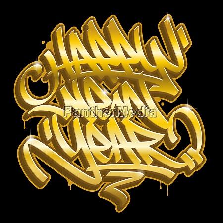 frohes neues jahr graffiti goldene schriftzug