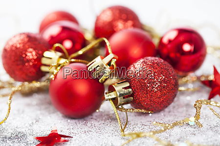 red christmas baubles isolated