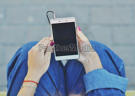smartphone close up in the hands