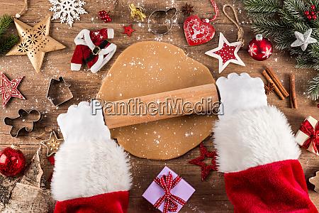 santa claus weihnachtsbaeckerei konzept hintergrund
