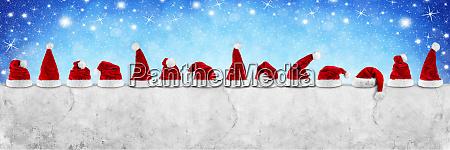 reihe von rot weiss santa claus