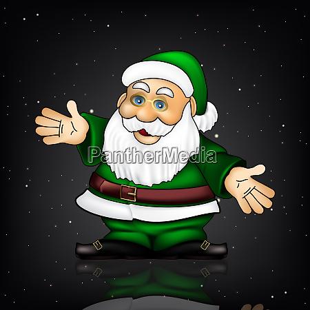 weihnachtsgruss mit weihnachtsmann und schneeflocken