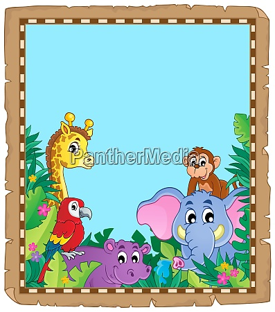 parchment with animals in jungle